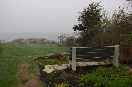 maine ogunquit spring bench coast fog