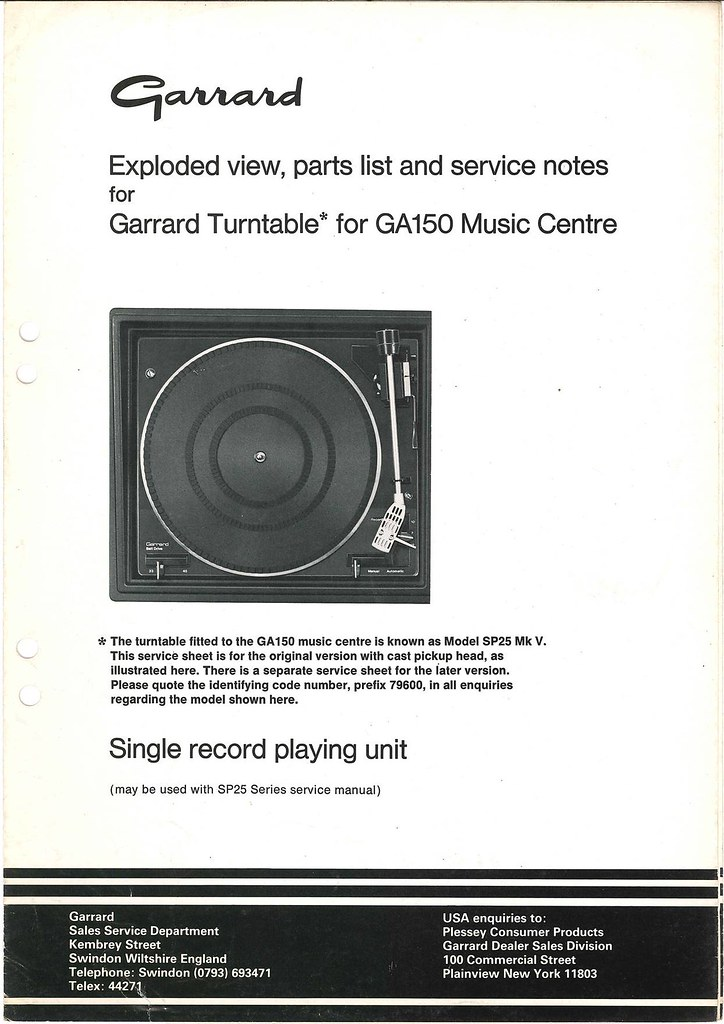 Garrard Service Information GA150 – Analogue Addiction