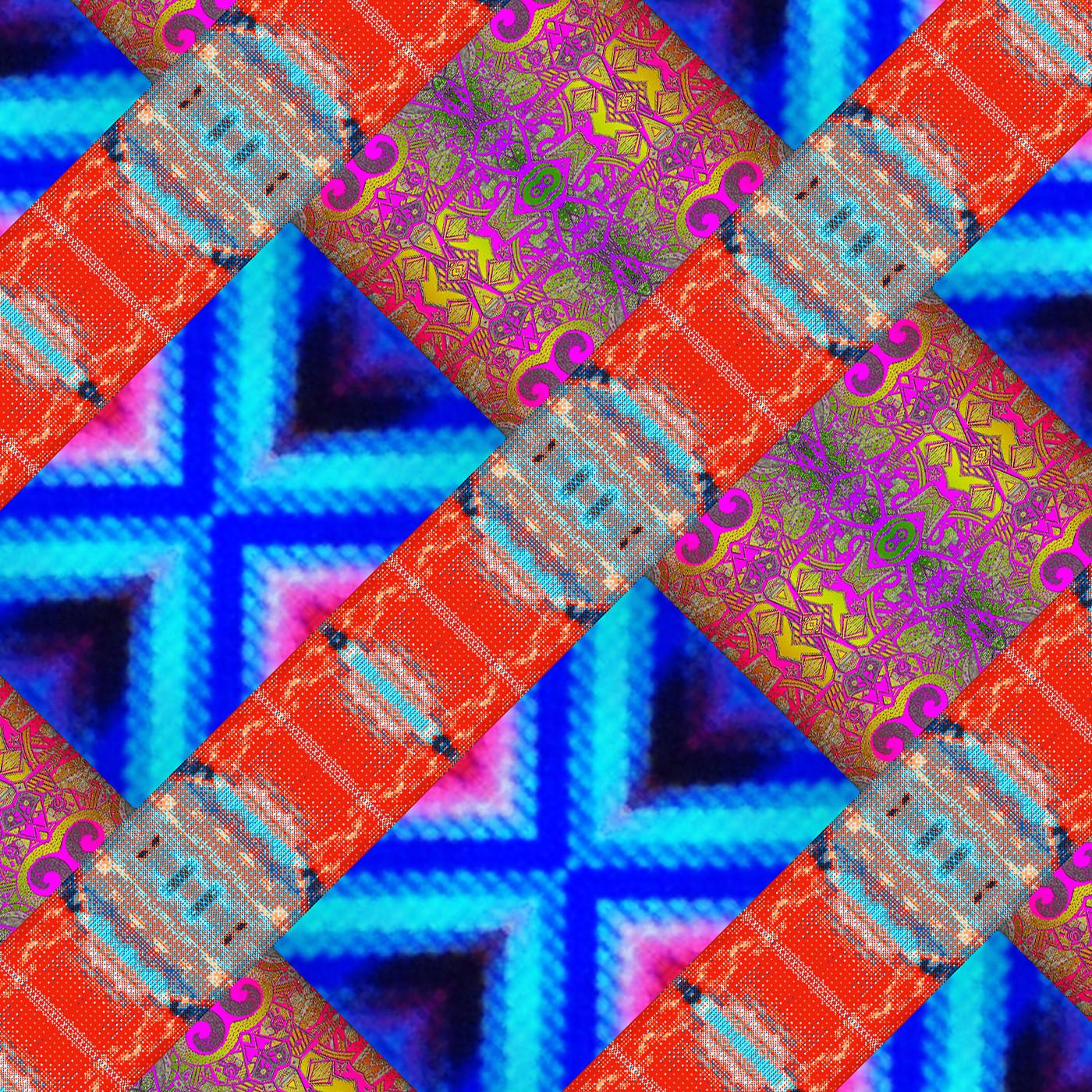 Dismantled Batteries: vivid, digital, acidic crosshatch pattern