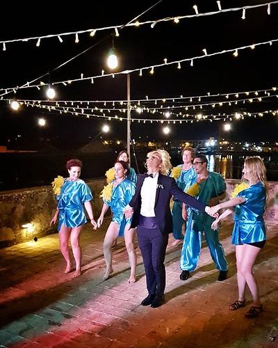 That's a party #wedding #party #dance #lights #night #fun #marzamemi #sicily #igers #igersitalia #happy #beccacimmi #beccacimmiwedding | by Mario De Carli