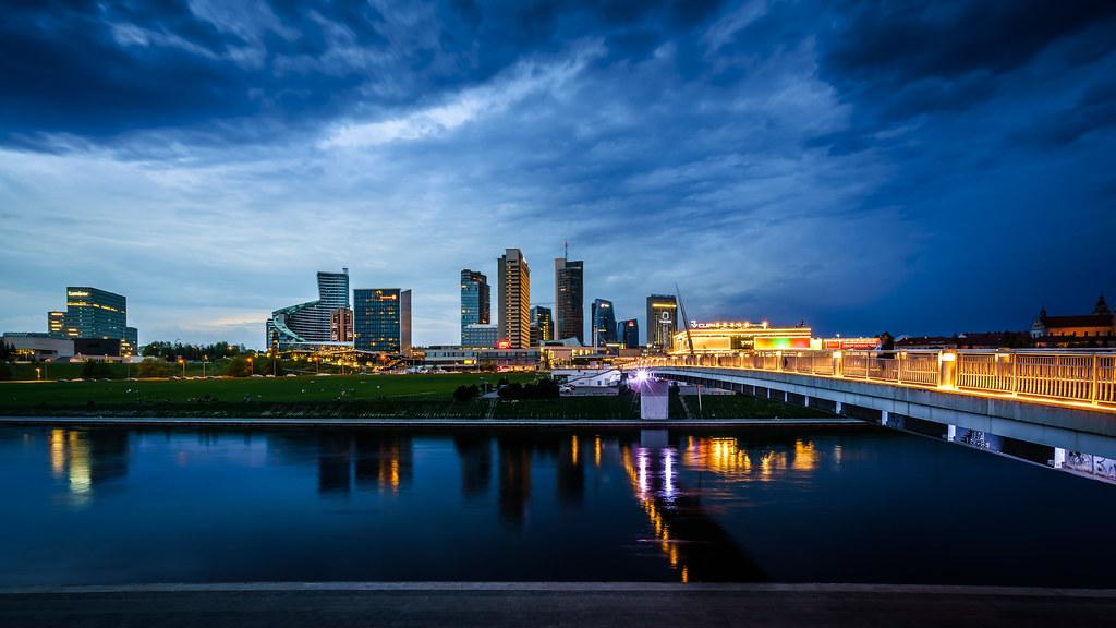 Blue hour :: Business District Vilnius - Cheap Places to Travel