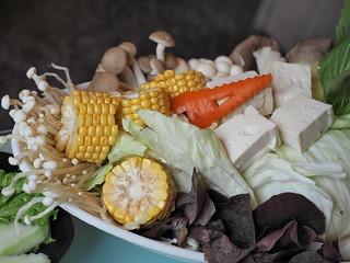 Steamboat Set, got mushroom, corn, tau fu, and other vegetables | by huislaw