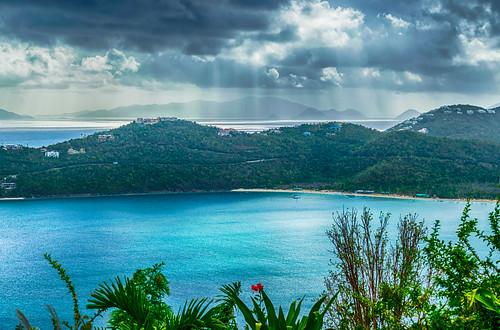 caribbean hdr magensbay magensbaybeach nikon nikond5300 outdoor usvirginislands virginislands beach clouds geotagged hills island ocean sky tropical water stthomas