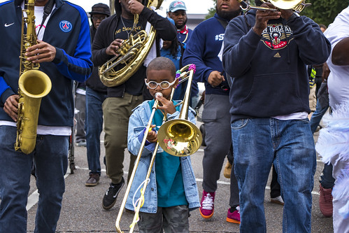 Alvin with Big 6 Brass Band. Photo by Jamell Tate.