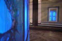 broken blue glass at Station Blaak