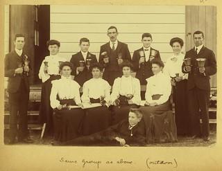 Dozen members of the Albion Baptist church bellringers group, June 1906