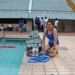 Malini getting ready for Dhaka 10km swim
