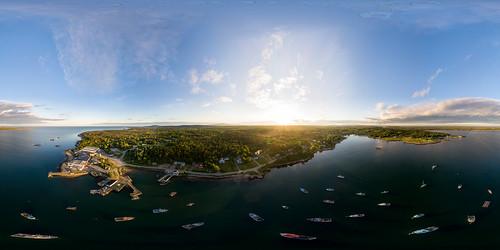 360 dji maine newengland prospectharbor vr aerial boats coast drone equirectangular fishing harbor ocean panorama unitedstates usa