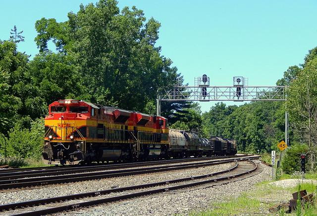 Kansas City Southern duo on the CSX Garrett Sub at Auburn Indiana