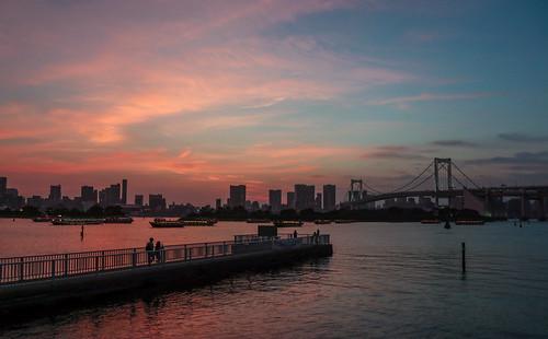 sunset 東京 夕日 お台場 seaside 湾岸 tokyo レインボーブリッジ rainbowbridge japan odaiba