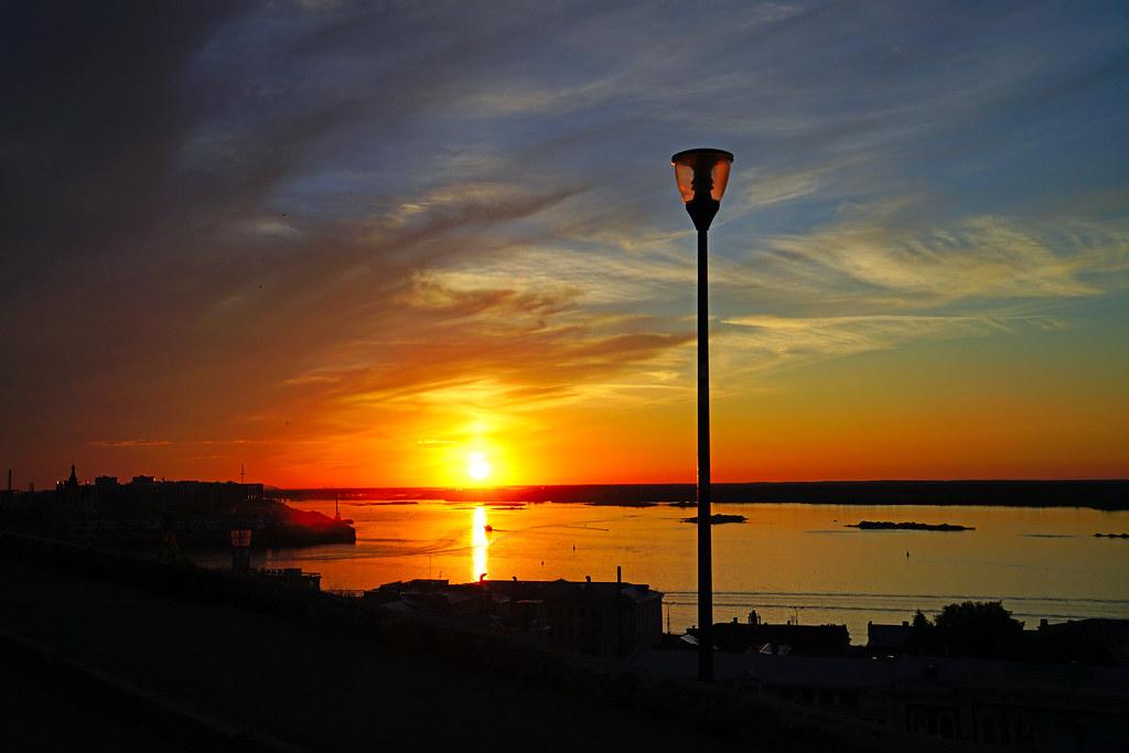Setting sun reflecting in Volga, Nizhny Novgorod, Russia