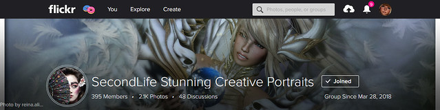 SecondLife Stunning Creative Portraits Group Cover
