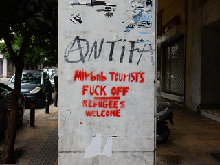 AirBnB Tourists Fuck Off — Refugees Welcome | 2018, Athens