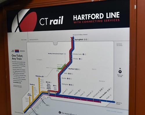 CTRail (Connecticut Rail) train service network diagram