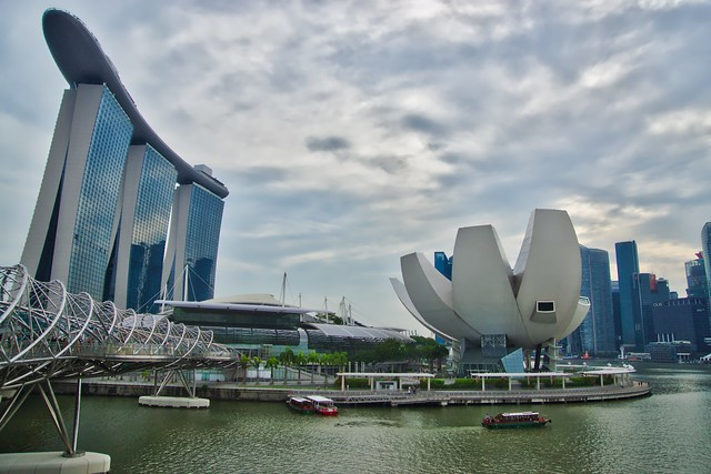 Marina Bay Sands Hotel, Helix Bridge and Arts & Science Museum in Singapore