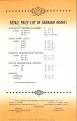 Garrard Descriptive List 1940's Prices