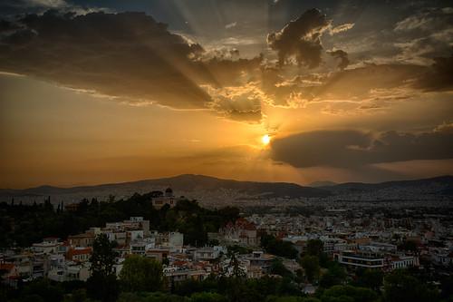 sunset sun coucherdesoleil soleil athens athenes greece grece