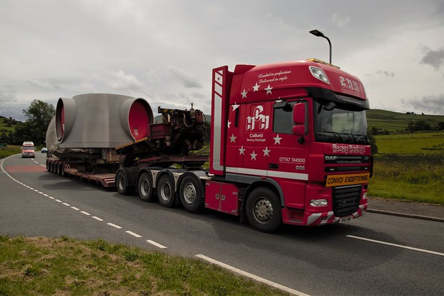 Thundering along the A5 with a police escort an abnormal load for the wind turbine scheme at Brenig 15 June 2018
