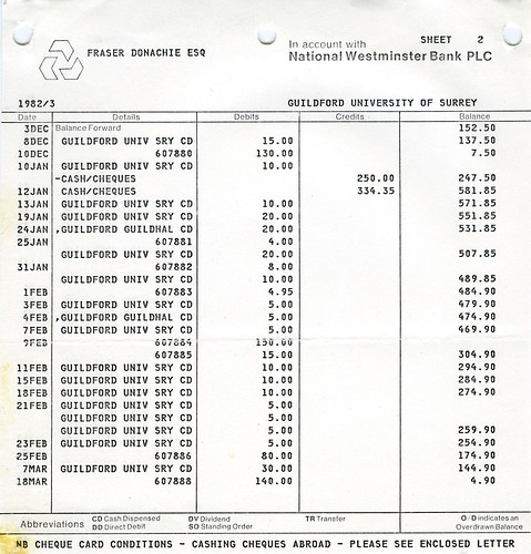 Bank Statement | Sheet 2 | 1983