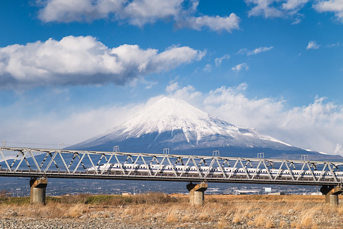*Mt. Fuji and the Shinkansen Bullet Train* | by Yuga Kurita
