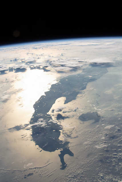 Sunglint and Thunderstorms Over the Straits of Florida