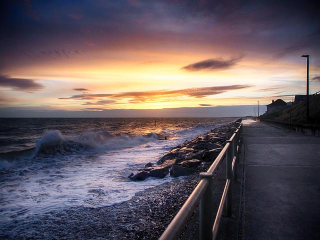 Sunset and rough seas ...Tywyn.