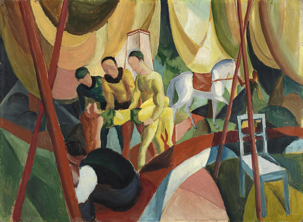 August Macke - Circus [1913] | Three acrobats attend to a fe
