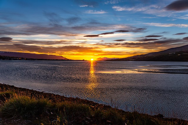 Midnight sun in Eyjafjordur Iceland