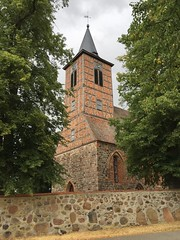 Church at Brüssow, where Marie Charlotte Goetch (married to Friedrich Wilhelm Haneckow) was baptised and confirmed. Brüssow, Uckermark Germany.  July 10 2018.
