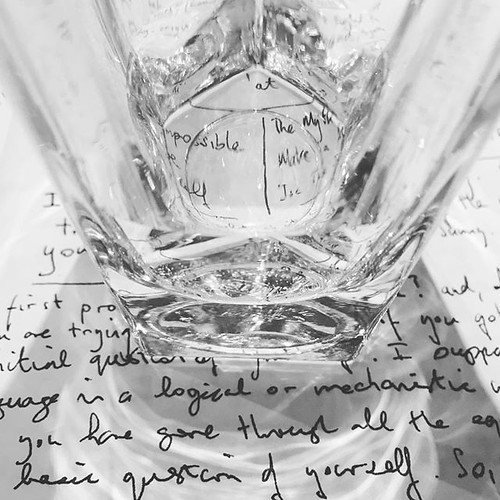 Notebook writings with glass of water   by tonyhall