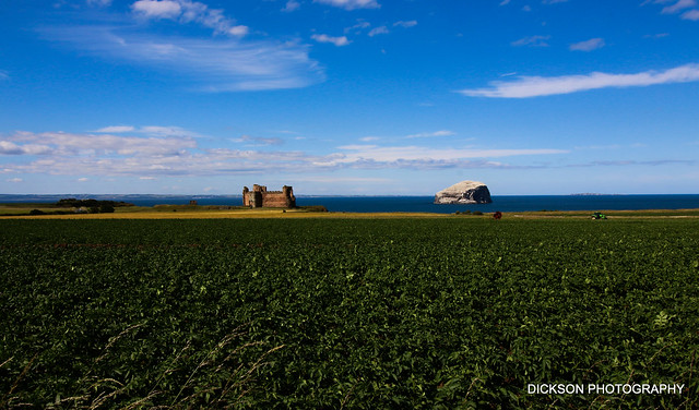 Tantallon Castle with the Bass Rock in East Lothian