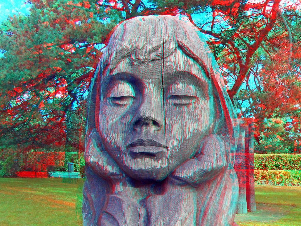 3D red/cyan Anaglyph - Zinnowitz, Mädchen Statue