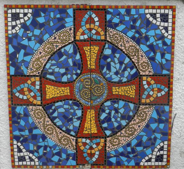 Celtic Cross Mosaic, Groam House Museum, Rosemarkie, Black Isle, June 2018