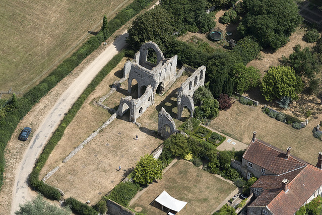 Aerial of Creake Abbey in Norfolk