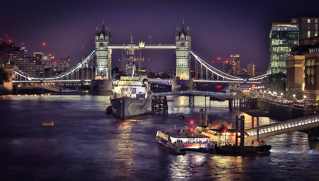 London, the river Thames by night