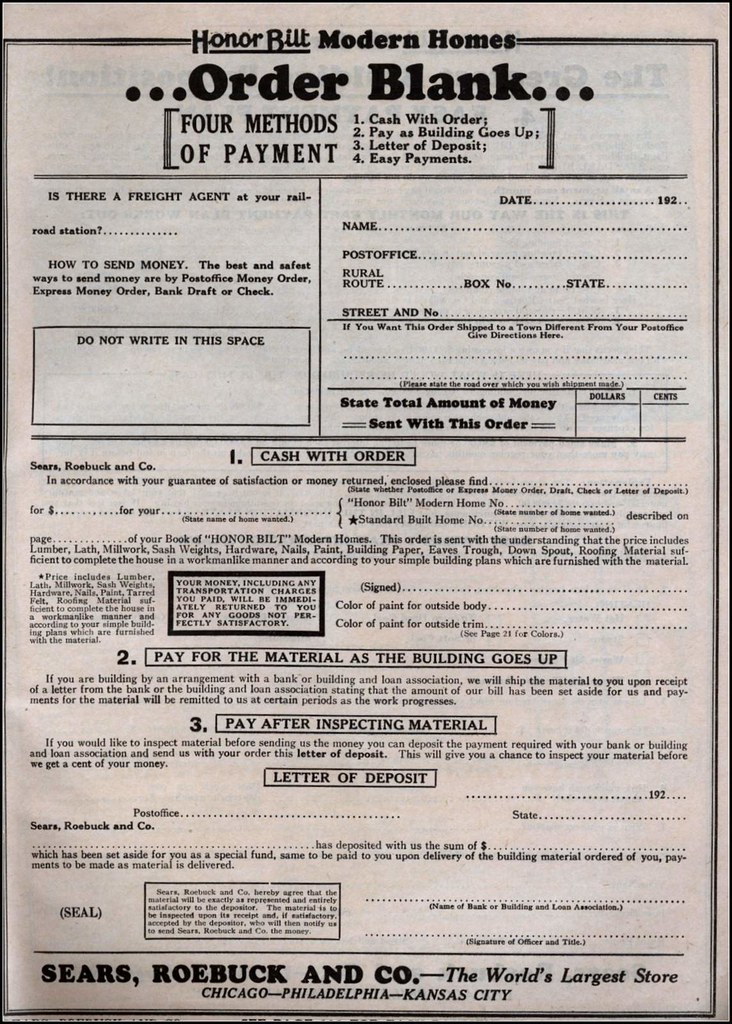 1925 Sears Modern Homes | Order Form | Daily Bungalow | Flickr
