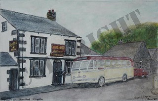 My latest painting. Hebble motor services Leyland Royal Tiger at Hoghton near Preston presumably on the way to or from the Seaside. May sell prints.