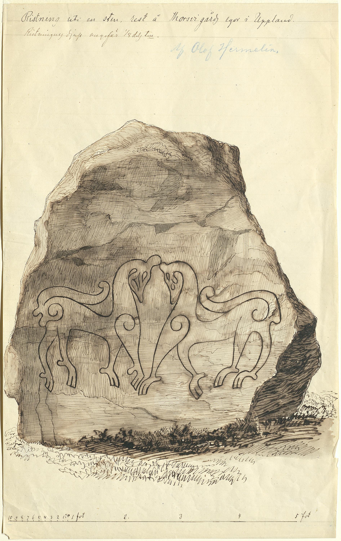 Two animals at ancient carved stone, Navsta, Torsvi, Uppland, Sweden