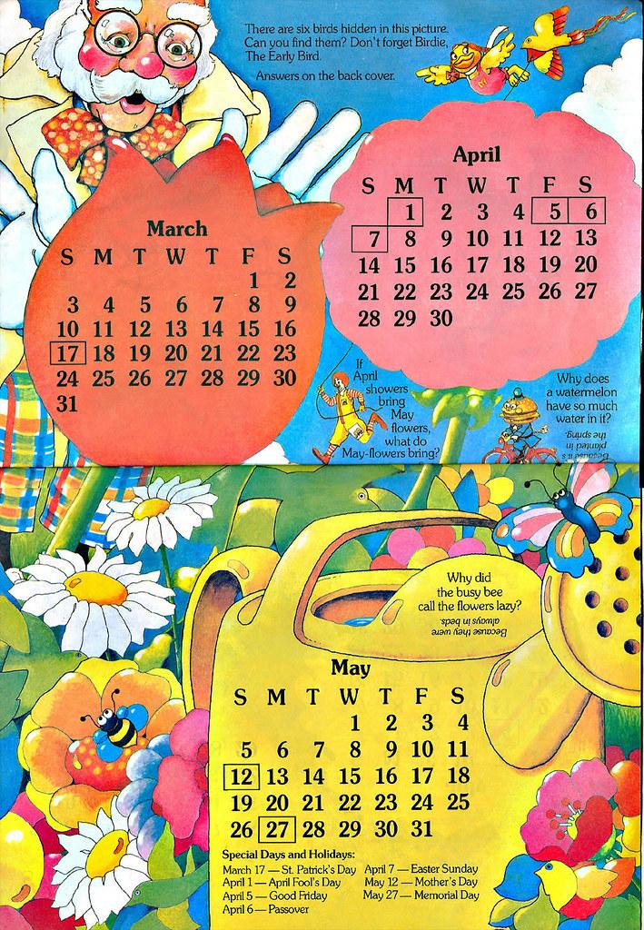 1985 Calendar.Mcdonaldland Fun Times 1985 Calendar Spring Proff Flickr