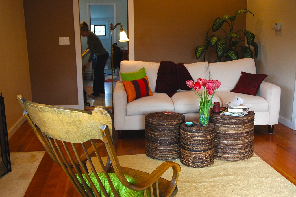 Peggy\'s zen livingroom renovation, woven tables, tulips, b ...