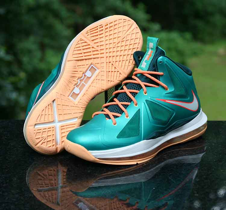 6cdbf214169e ... Nike LeBron X 10 Setting Miami Dolphins Atomic Teal Orange 541100-302  Size 6Y