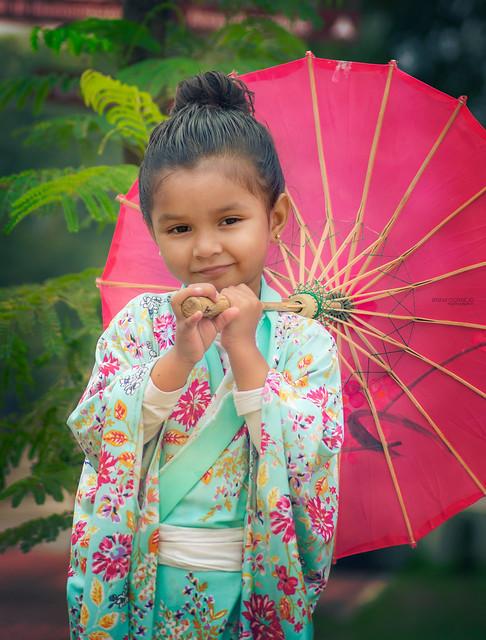Betty wearing Kimono