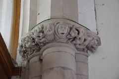 capital: owl, cowled head, dog (13th Century)