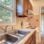 Double-welled kitchen sink for your use.