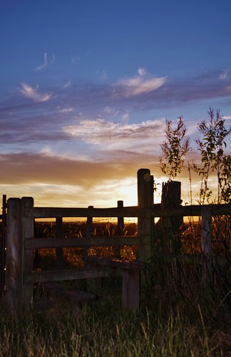 fence stile sunset sky silhouette