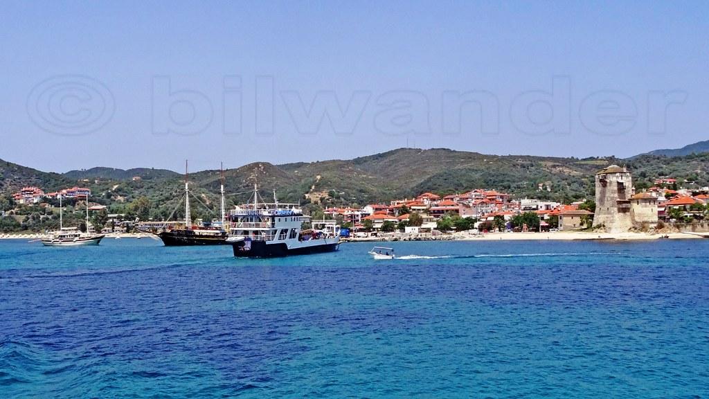 Greece, Macedonia, Aegean Sea, Chalkidiki, Ouranoupolis harbor,   small ferry & vintage like  schooner for short cruises around Mount Athos peninsula