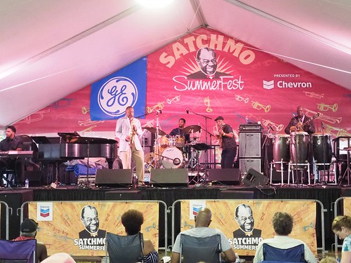 Big Chief Donald Harrison, Jr. closing out Satchmo SummerFest - Aug. 5, 2018. Photo by Bill Sasser.