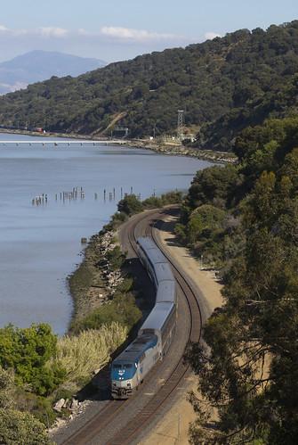 portcosta california amtrak passenger train capitolcorridor railroad ge generalelectric p42dc genesis locomotive carquinez strait