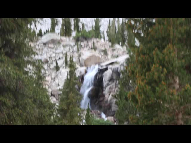 1833 Video of the waterfall on Lone Pine Creek near Outpost Camp, from the Mount Whitney Trail