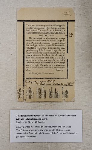 Proof copy, FWG's tribute to Bertha M. Sprinks Goudy (1869-1935)